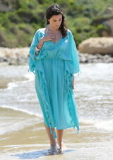Tassel Cotton Embroidered Kaftan Dress