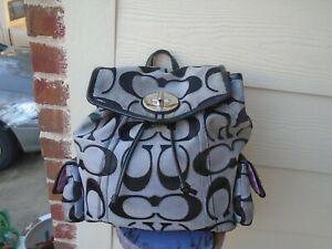 Coach Signature Backpack Black gray canvas trim Patent Leather Rare 16696