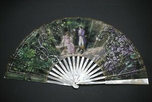 ANTIQUE FRENCH MOTHER OF PEARL ENGRAVED IRIS DESIGN  PAINTED ROMANTIC SCENE FAN