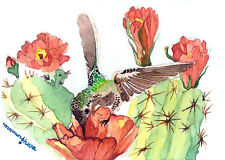ACEO Limited Edition, Hummingbird and cactus, Art print of an ACEO watercolor