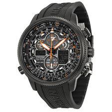 NEW!! Citizen Navihawk A-T Black Dial Black Rubber Mens Watch JY8035-04E