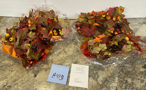 2 Valerie Parr Hill Autumn Harvest Maple Leaf Ivy Berry Pinecone Candle Rings