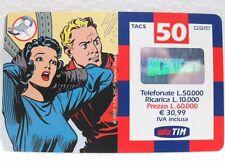 """SCHEDA TELEFONICA RICARICARD-""""FLASH GORDON e DALE""""-VAL. Lire 50.000-sc. DIC 2001"""