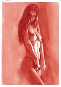 original painting А3 522ShA art modern watercolor female nude red grisaille