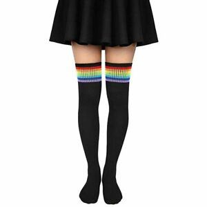 1 Pair Women's Girls Rainbow Over Knee High Stockings Sports Long Thigh Socks