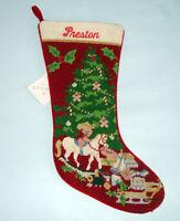 Sferra Christmas Toys Needlepoint Christmas Stocking Monogrammed PRESTON New