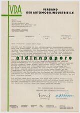 Brief VDA Verband der Automobilindustrie O.U. Vorwig Brunn an Fritz Wenk 1961