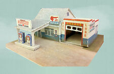 Z Scale Building - Retro Gas Station Service Station (Cover Stock Paper Kit)