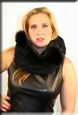 New Black Wool Infiniti Neck Gator Scarf Fox Fur Trim Efurs4less