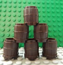 6 LEGO Dark Brown Barrel Container Tub Flower Pot Pirate Ship Set No 2489