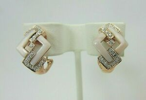 14k Rose Gold Mother of Pearl and Diamond Earrings