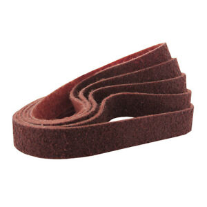 """1/2"""" x 24"""" Surface Conditioning Non Woven Sanding Belts Kit Red, Medium - 5 PACK"""