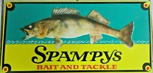 SPAMPY'S BAIT AND TACKLE ADVERTISING WALLEYE FISHING LURES SIGN