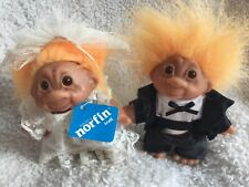 1986 Norfin Dam Bride And Groom Trolls Dolls 5 Inch Complete Outfit