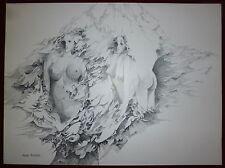 Jacques Boissier encre sur papier signée art femme erotic pointillisme
