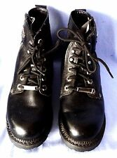 Harley Davidson Zipper Motorcycle Boots Womans 6 1/2 USA Black Leather