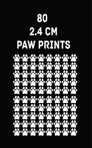 80 x WHITE Paw Print Dog Cat Decal Vinyl Stickers 2.4 cm  Car Glass Craft Art