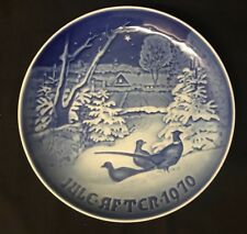 """Vintage B & G Juleaften 1970 Pheasants In The Snow At Christmas 7"""" Blue Plate"""