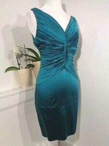 Calvin Klein dress emerald green satin cocktail/party Ruched Sleeveless Sz 8