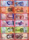 VENEZUELA FULL SET LOTE 2 5 10 20 50 & 100 Bolivares 2007-2015 Pick 88/93 UNC