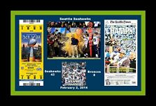SEATTLE SEAHAWKS SUPER BOWL 48 MATTED COLLAGE PIC OF SUPER BOWLTICKET @NEWSPAPER