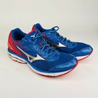 Mizuno Wave Rider 19 Womens Size 12 W Blue Red Running Athletic Shoes J1GD160301