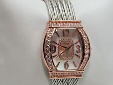 Diamonique Stainless Steel Cuff Watch Small Rosetone