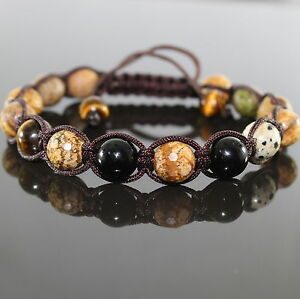 SAHARA Lapis Herren Edelstein Shamballa Perlen Armband, Naturstein Tiger Eye