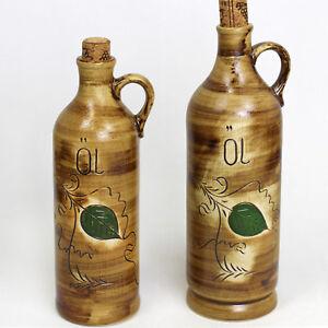 Ölflasche Öl Kanne Gefäß Flasche m. Stöpsel Kork Henkelflasche Keramik 2-Größen