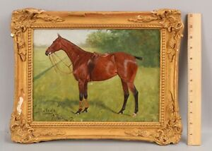 1907 Antique GEORGE THOMAS PAICE Equestrian Thoroughbred Racehorse Oil Painting