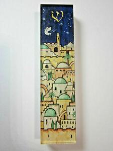 "Small Mezuzah Acrylic JERUSALEM w NON Kosher Scroll 4"""