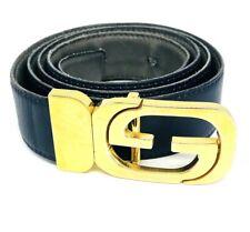 VINTAGE 1970's GUCCI Reversable Navy Grey Leather Gold G Buckle Belt