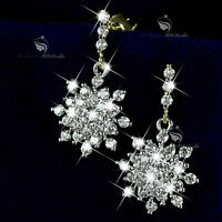 18k yellow white gold made with SWAROVSKI crystal stud snowflake earrings dangle