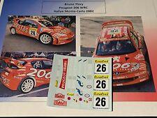DECALS 1/24 PEUGEOT 206 WRC THIRY RALLYE MONTE CARLO 2002 RALLY YPRES BELGIQUE