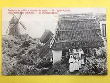 cpa PORTUGAL SAO MIGUEL AÇORES FERME de MAÏS et MOULIN à VENT Windmill Moinho