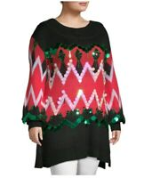 Holiday Time Christmas Ugly Sweater Tunic Sequins Plus Size XXL/2XG (20)
