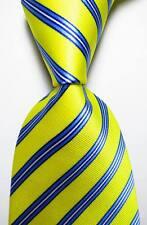 New Classic Striped Yellow Blue White JACQUARD WOVEN 100% Silk Men's Tie Necktie