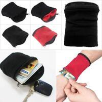 Sport Schweißband Wristband Reißverschluss Schweißbänder Tennis Armband  Tasche