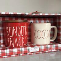 New Rae Dunn Red Reindeer Snacks Cellar & Cocoa LL Mug Christmas 2019 Set Of 2