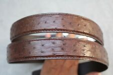 Luxury Brown Genuine Ostrich Leather Skin Men's Belt - W 1.3 inch
