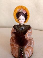 Russian Costume Doll with Porcelain Head and Hands Handmade