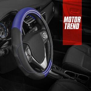 Motor Trend GripDrive Ergonomic Carbon Fiber Steering Wheel Cover Gray Blue
