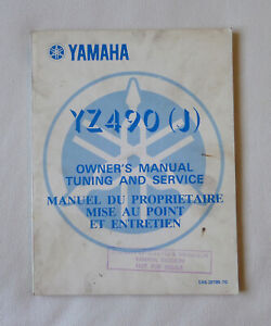 Genuine Yamaha Model YZ490 (J) YZ490J Owner's Manual Tuning and Service (1982)