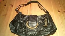 WOMENS BLACK CLASSIC SHOULDER HANDBAG ZIP & POPPER FASTENING MEXX