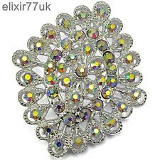 NEW SILVER FLOWER BOUQUET BROOCH DIAMANTE CRYSTAL WEDDING BRIDAL PARTY BROACH UK