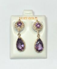 14k yellow gold filigree amethyst drop earrings