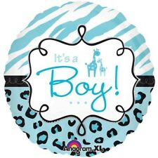 It's A Boy Party Balloon - Baby Its Safari Giraffe Shower Foil Blue Helium