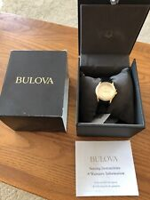 New! Women's BULOVA Gold Tone Black Leather Strap Second Hand Watch 97V25