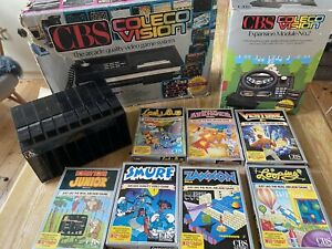 CBS Coleco Colecovision console with 9 games (boxed) and Atari cartridge holder