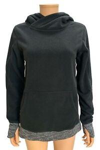 Lululemon Black/Coco Pique Runaway Fleece Pullover Hoodie Sweatshirt Top Size 6